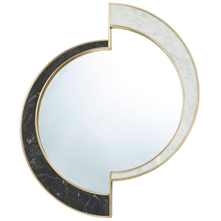 Half Moon Mirror, Nero Marquina/Carrara Marble and Brushed Brass, by Lara Bohinc For Sale