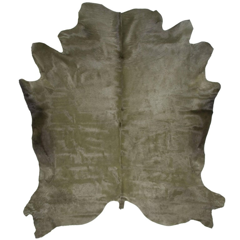 Military Green Cowhide Rug For Sale