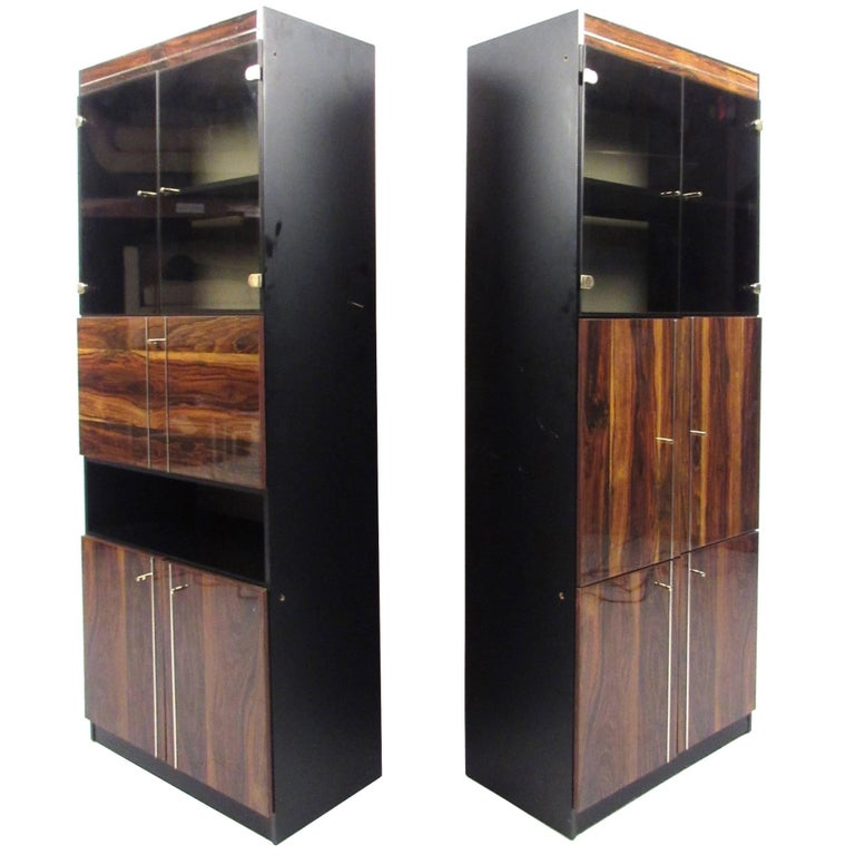 Pair of Modern Bookshelf Display Cabinets For Sale