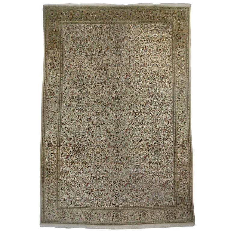 Vintage Persian Tabriz Gallery Rug With Soft, Neutral