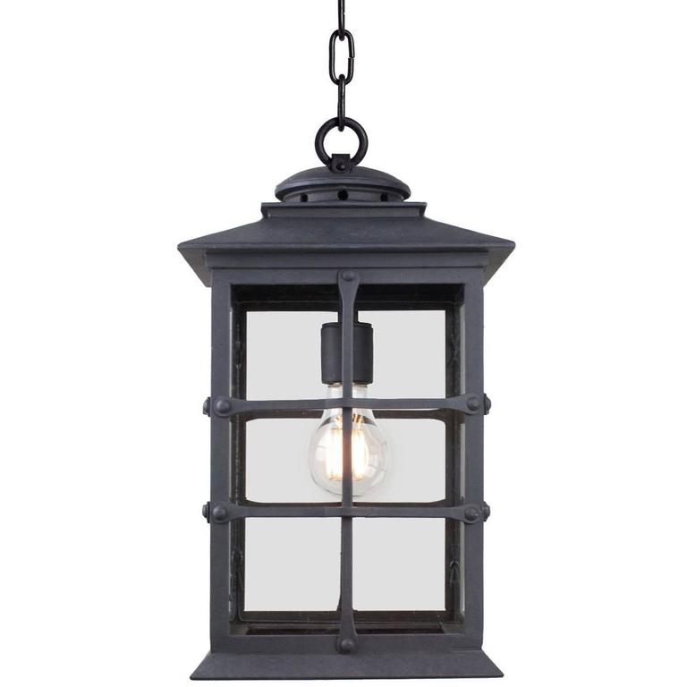 Mission Style Exterior Handcrafted Wrought Iron Pendant Lantern, Mission Revival For Sale