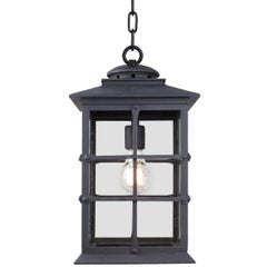 Mission Style Exterior Handcrafted Wrought Iron Pendant Lantern, Mission Revival
