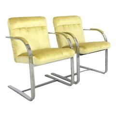 Set of Mid-Century Modern Chrome Framed Canary Velvet Chairs