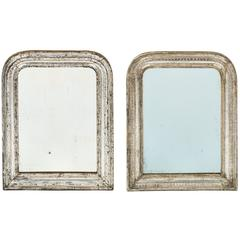 Pair of French Louis Philippe Silver Leaf Mirrors