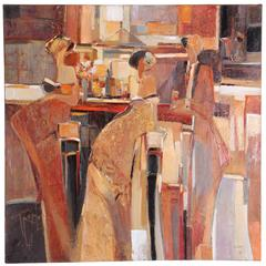 Large Yuri Tremler Oil Painting Bar Scene, 1990s