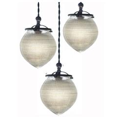 1920s Acorn Prismatic Pendants by Holophane