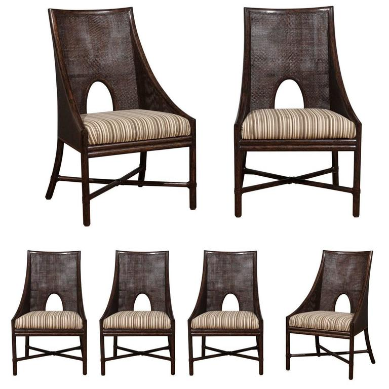 Charmant Elegant Set Of Six Rattan And Cane Dining Chairs By McGuire For Sale