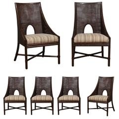 Elegant Set Of Six Rattan And Cane Dining Chairs By McGuire