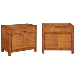 Beautiful Restored Pair of Vintage Cane Cabinets by Bielecky Brothers