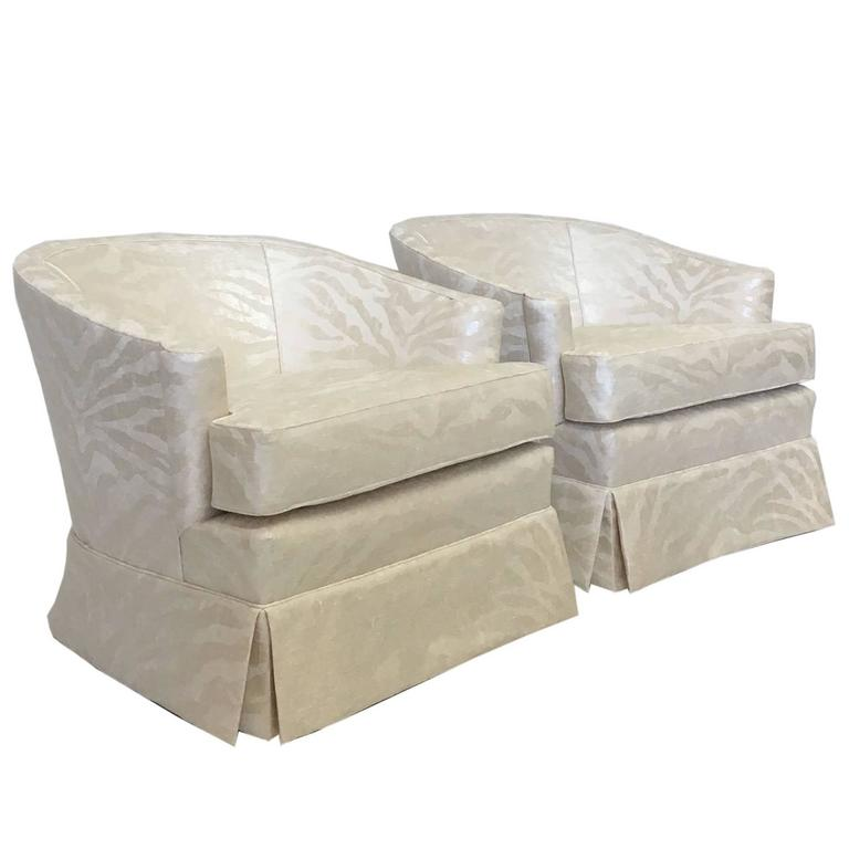 Pair Of Silver Zebra On Cream Club Chairs For Sale