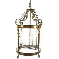 Vintage Etched Glass and Brass Three-Arm Lantern Light Fixture