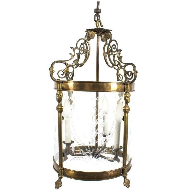 Vintage Etched Glass and Brass Three-Arm Lantern Light Fixture For Sale