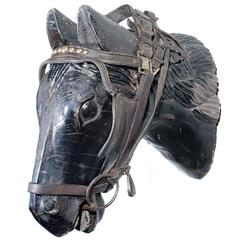 Early Hand-Carved Tack Horse Display Head