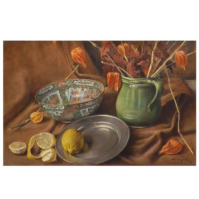 Still Life with Oriental Bowl and Lemons by Dutch Artist Tjerk Wielinga