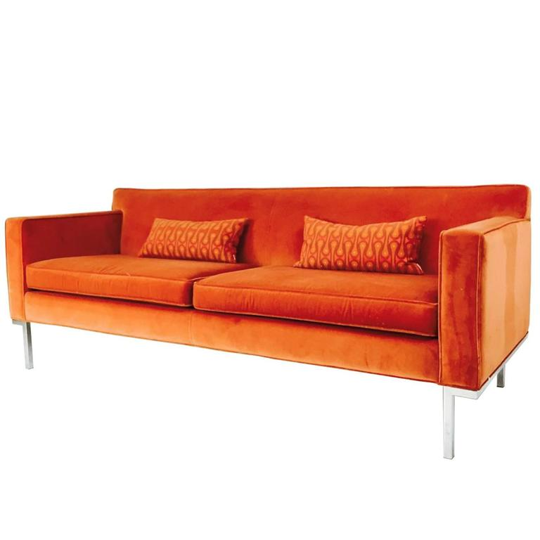 Orange Velvet Theatre Sofa By Ted Boerner For