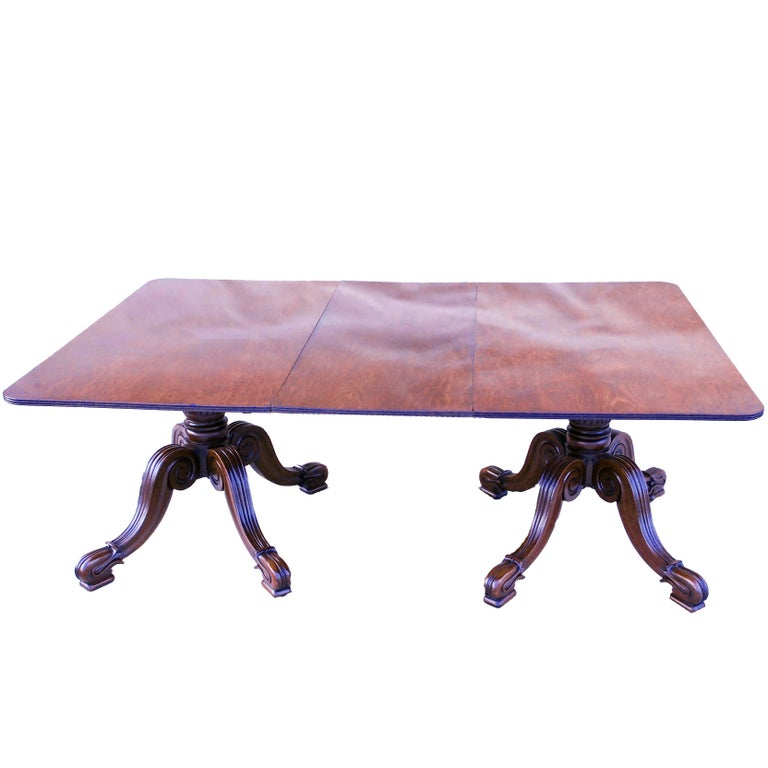 Antique Late Regency Mahogany Twin Pillar Dining Table For Sale