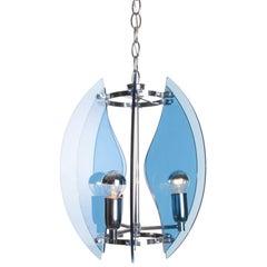 1960's Blue Glass & Chrome 3 light Pendant Attirbuted to Veca