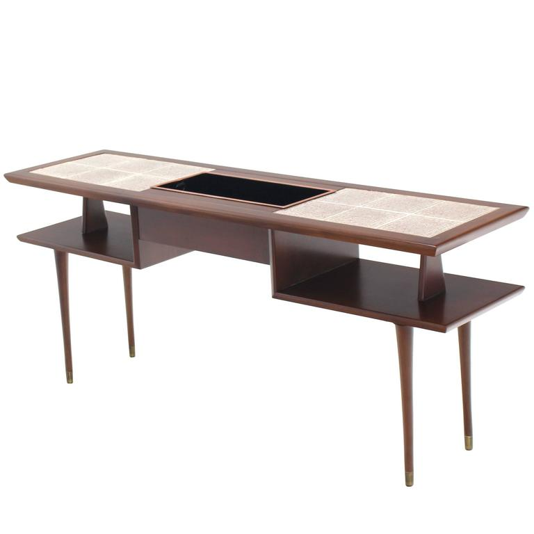 Tiled Console Table ~ Two tier walnut sofa table with tile top and planter for