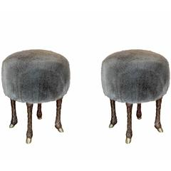 "Pair of ""Pieds De Bouc"" Stools by Marc Bankowsky"