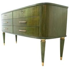 Italian Dyed Maple Dresser with a Black Opaline Glass Top, 1940s