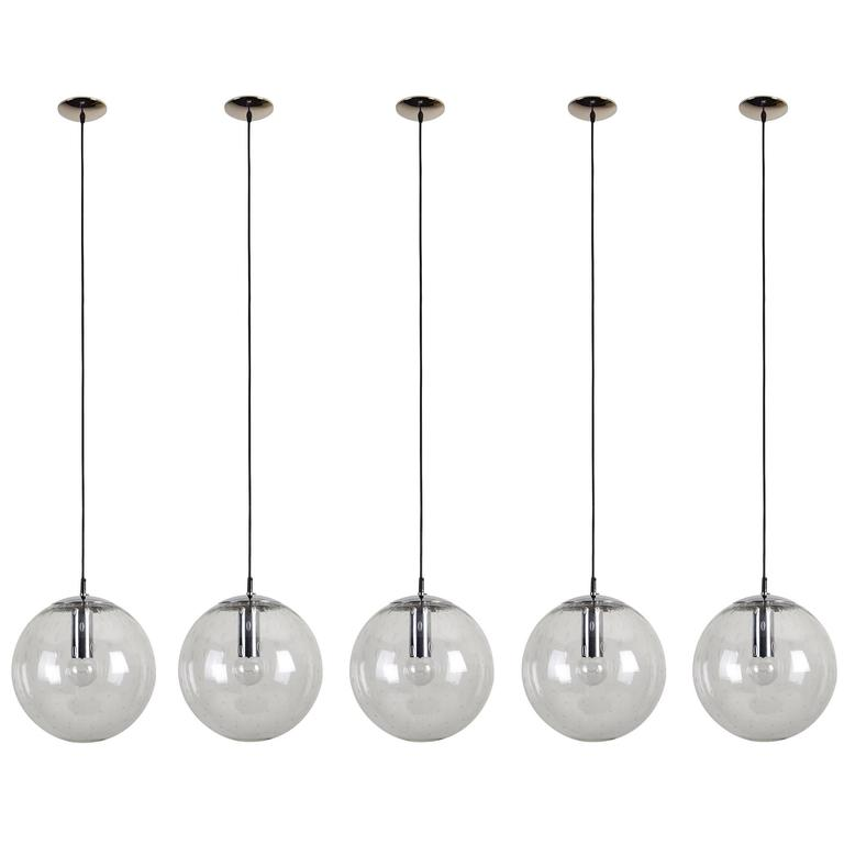 Five Glass Globes Pendants By RAAK For Sale At 1stdibs