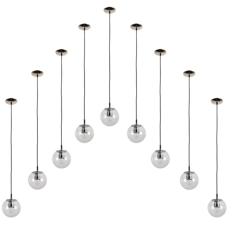 Set of 15 Small Glass Globe Pendants by RAAK