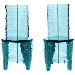 Pair of Vintage Glass Chairs