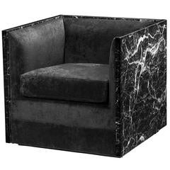 Style Black Marble Armchair Black Velvet and Black Faux Marble