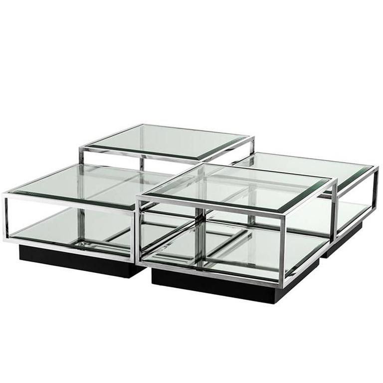 Astra Coffee Table Set of Four in Polished Stainless Steel ...
