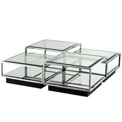 Astra Coffee Table Set of Four in Polished Stainless Steel Glass & Mirror Glass
