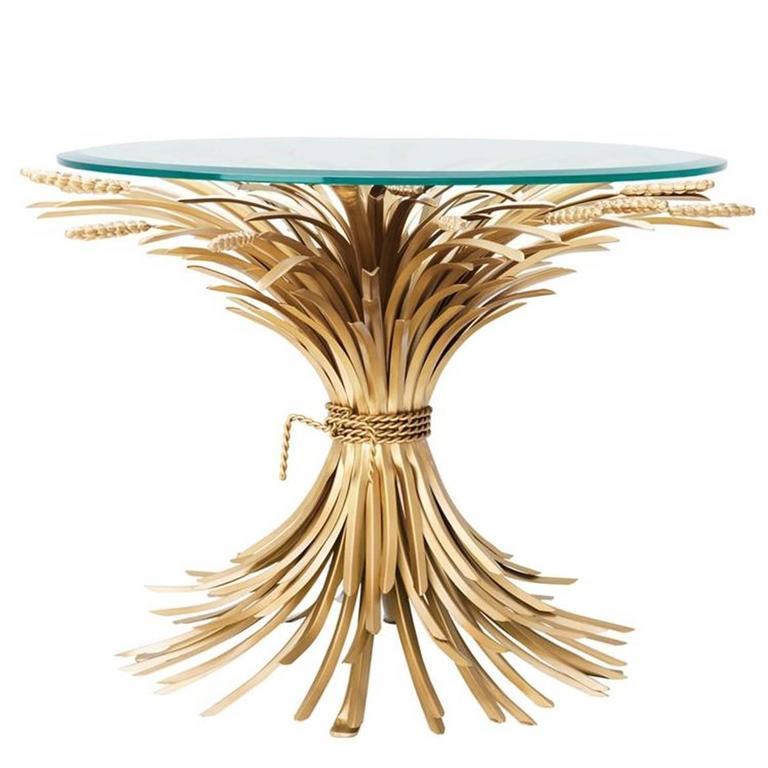 Wheat Sheaf Side Table In Antique Gold Finish With Gl Top For