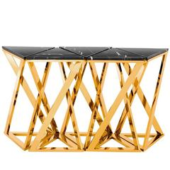Ellipse Console Set of Five Table in Gold Finish with Black Marble