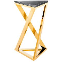 Ellipse Side Table in Gold Finish with Black Marble