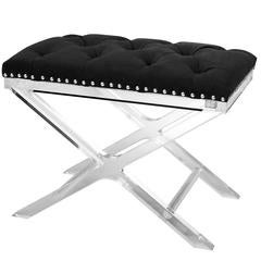 Harch Stool Clear Acrylic Structure and Black Velvet Fabric