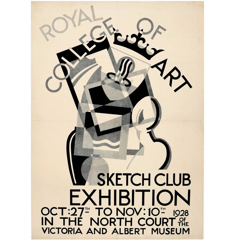 Original Royal College of Art Sketch Club Poster, 1928 Exhibition AT V&A Museum For Sale
