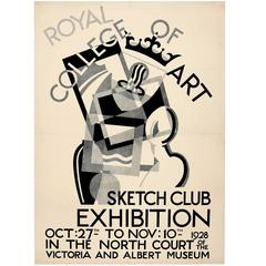 Original Royal College of Art Sketch Club Poster, 1928 Exhibition AT V&A Museum