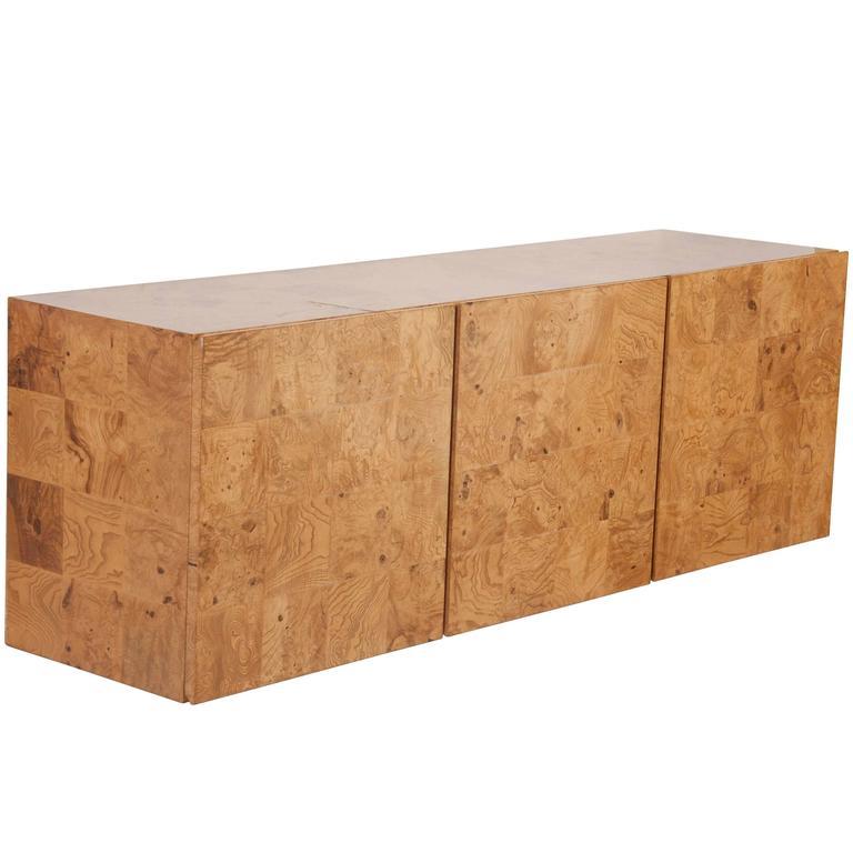 Olivewood Floating Sideboard Designed by Milo Baughman