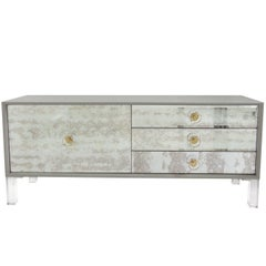 Lacquered Grey Sideboard w/ Antique Mirrored Fronts and Lucite Legs & Hardware