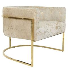 Modern Style Lisbon Accent Chair in Gold Speckled Cowhide w/ Curved Brass Frame