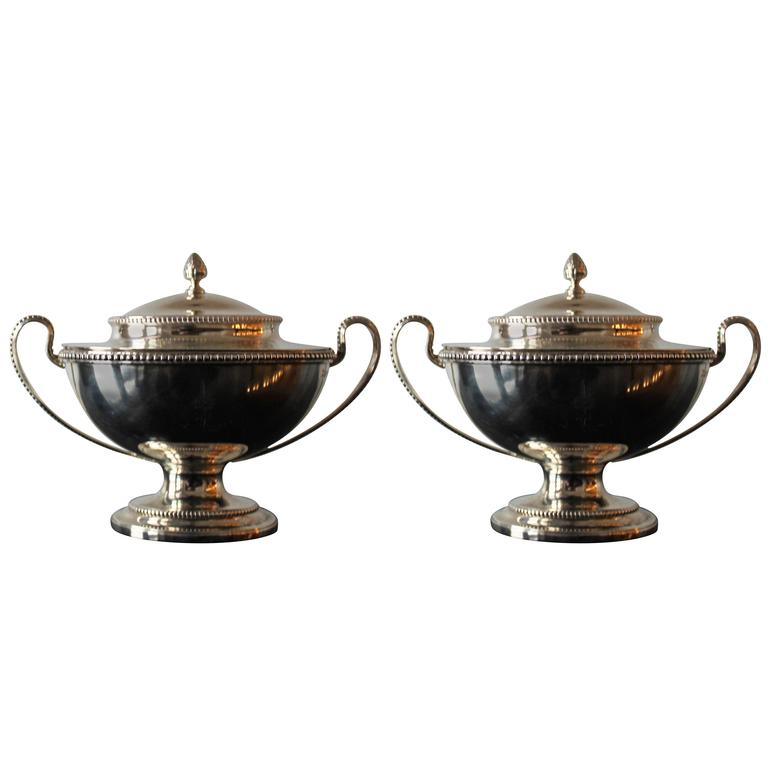 Pair of Augustin Le Sage George III Sterling Silver Tureens, 18th Century
