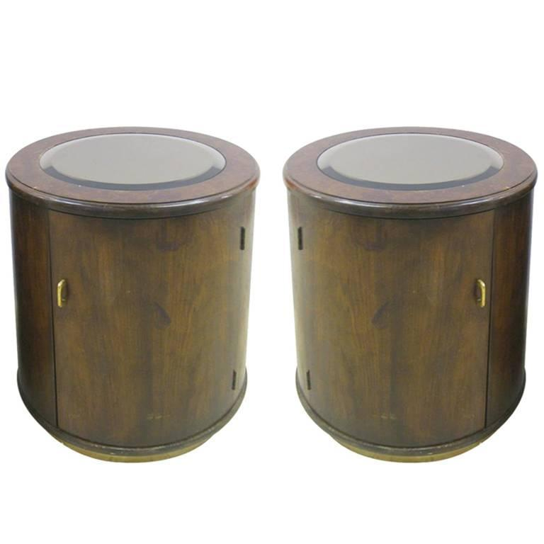 Pair of Mirror Inset Drum Bedside End Tables
