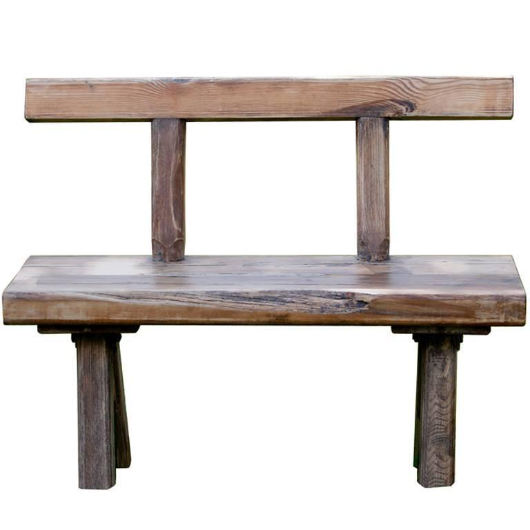 Primitive Antique Rustic Oak Bench with Backrest from Belgium, circa 1910  For Sale - Primitive Antique Rustic Oak Bench With Backrest From Belgium, Circa