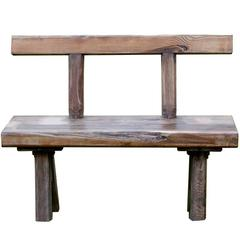Primitive Antique Rustic Oak Bench with Backrest from Belgium, circa 1910
