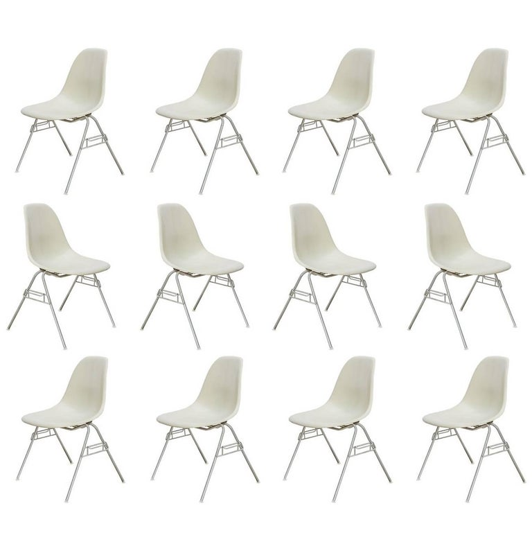 Eames for Herman Miller Parchment DSS Shell Chairs  For Sale