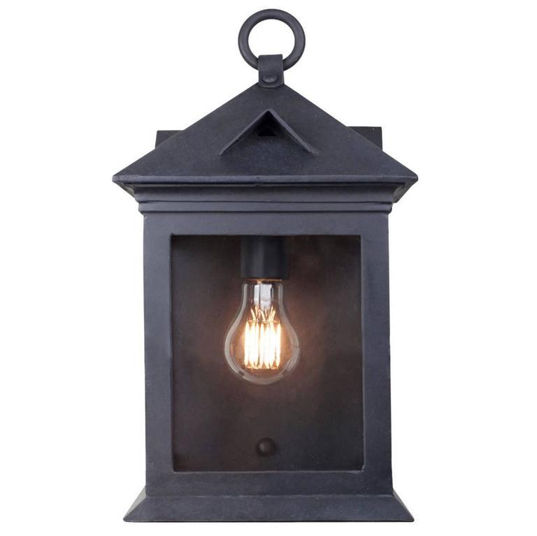 Craftsman Coastal Exterior Wrought Iron Flush Wall Mount Lantern For Sale