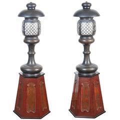 Rare Pair of Japanese Bronze Shinto Shrine Lanterns, Early 20th Century