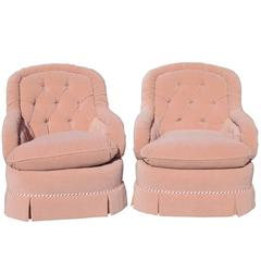 Pair of Baker Tufted Club Chairs