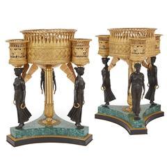 Pair of Empire Style Gilt, Patinated Bronze and Malachite Antique Jardinières