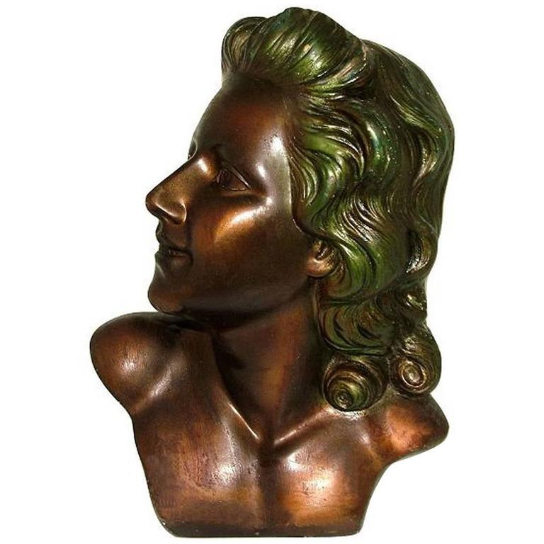 Beautiful Art Deco, French Bust of a Young Woman
