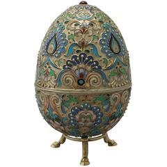 Antique Russian Silver Gilt and Polychrome Cloisonné Enamel Egg